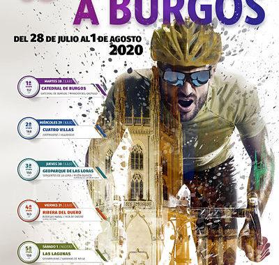 Cartel de la Vuelta a Burgos 2020 en la que se ve un ciclista