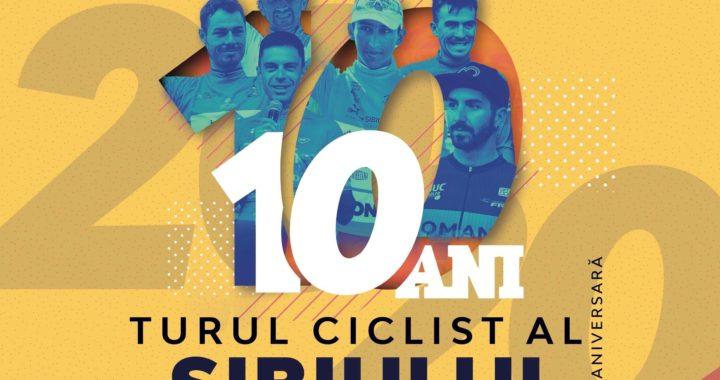 Cartel anunciado de la carrera Sibiu Cycling Tour en la que se ve la imagen de cuatro corredores