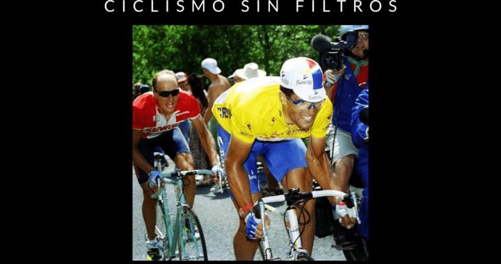 Portada del episodio 3 del podcast de ciclismo de ayer y de hoy en el que se ve la imagen de miguel indurain en una de las etapas de su quinto tour consecutivo