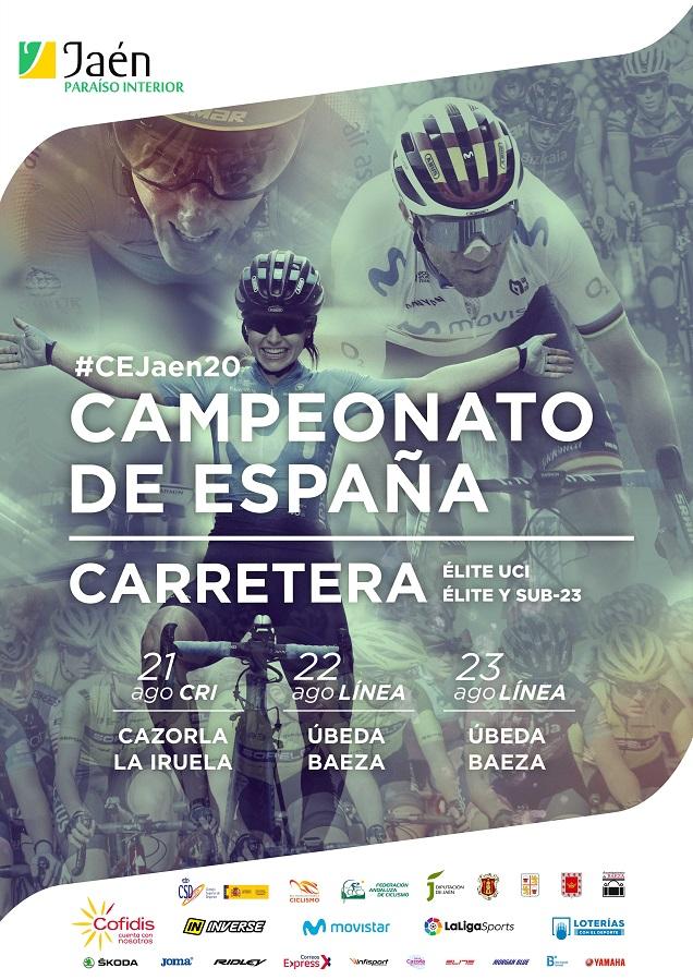 Cartel de los Campeonatos de España 2020 de ciclismo en el que sale los dos últimos ganadores Valverde y Sheila Gutierrez
