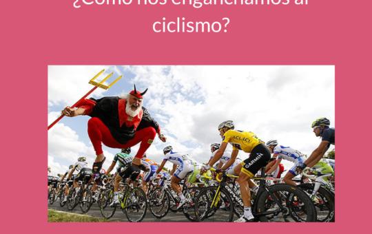 Portada del Podcast Especial donde recordamos cómo nos enganchamos al ciclismo y se ve en primer plano al diablo del Tour saltando al lado del pelotón